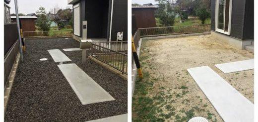防草シートと砂利