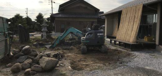 古いお庭を撤去して駐車場に変わります