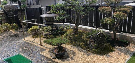 既存の庭木や庭石を使った和風の庭
